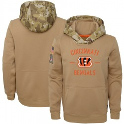 Nike Cincinnati Bengals Youth Khaki 2019 Salute to Service Therma Pullover Hoodie